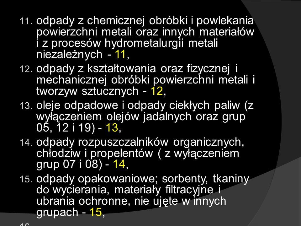 odpady z chemicznej obróbki i powlekania powierzchni metali oraz innych materiałów i z procesów hydrometalurgii metali niezależnych - 11,