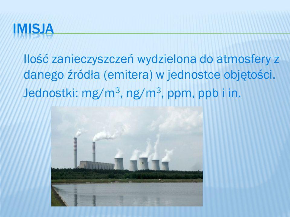 imisja Ilość zanieczyszczeń wydzielona do atmosfery z danego źródła (emitera) w jednostce objętości.