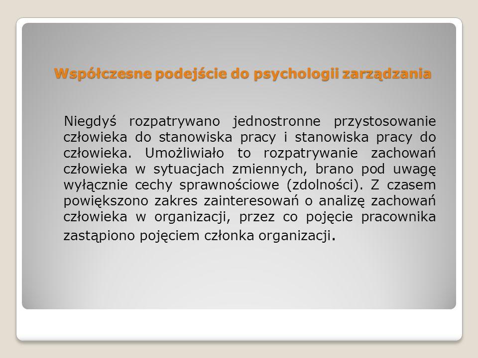 Współczesne podejście do psychologii zarządzania
