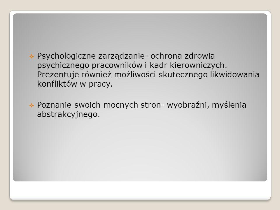Psychologiczne zarządzanie- ochrona zdrowia psychicznego pracowników i kadr kierowniczych. Prezentuje również możliwości skutecznego likwidowania konfliktów w pracy.