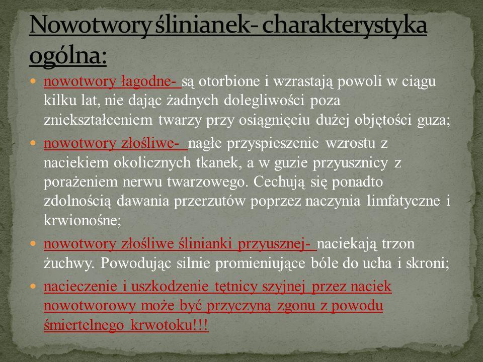 Nowotwory ślinianek- charakterystyka ogólna: