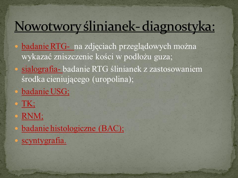 Nowotwory ślinianek- diagnostyka: