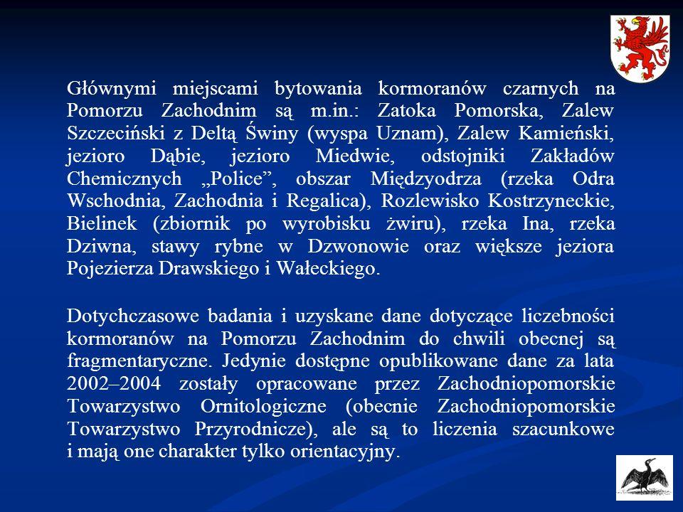 """Głównymi miejscami bytowania kormoranów czarnych na Pomorzu Zachodnim są m.in.: Zatoka Pomorska, Zalew Szczeciński z Deltą Świny (wyspa Uznam), Zalew Kamieński, jezioro Dąbie, jezioro Miedwie, odstojniki Zakładów Chemicznych """"Police , obszar Międzyodrza (rzeka Odra Wschodnia, Zachodnia i Regalica), Rozlewisko Kostrzyneckie, Bielinek (zbiornik po wyrobisku żwiru), rzeka Ina, rzeka Dziwna, stawy rybne w Dzwonowie oraz większe jeziora Pojezierza Drawskiego i Wałeckiego."""