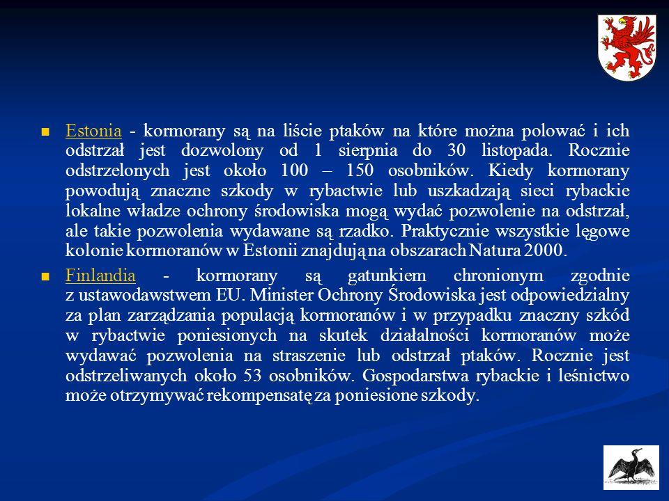 Estonia - kormorany są na liście ptaków na które można polować i ich odstrzał jest dozwolony od 1 sierpnia do 30 listopada. Rocznie odstrzelonych jest około 100 – 150 osobników. Kiedy kormorany powodują znaczne szkody w rybactwie lub uszkadzają sieci rybackie lokalne władze ochrony środowiska mogą wydać pozwolenie na odstrzał, ale takie pozwolenia wydawane są rzadko. Praktycznie wszystkie lęgowe kolonie kormoranów w Estonii znajdują na obszarach Natura 2000.
