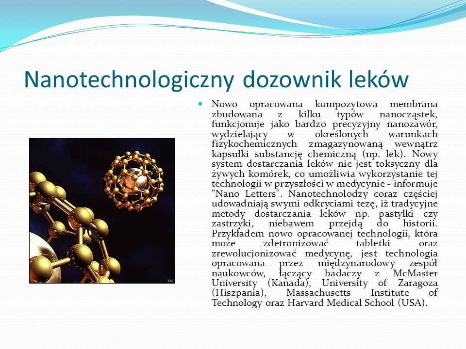Nanotechnologiczny dozownik leków