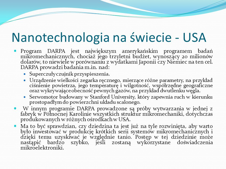 Nanotechnologia na świecie - USA