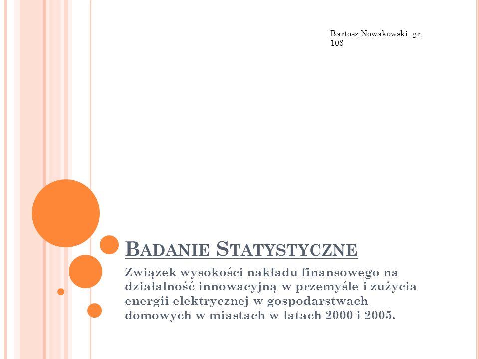 Bartosz Nowakowski, gr. 103 Badanie Statystyczne.