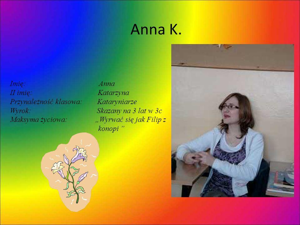 Anna K. Imię: Anna II imię: Katarzyna