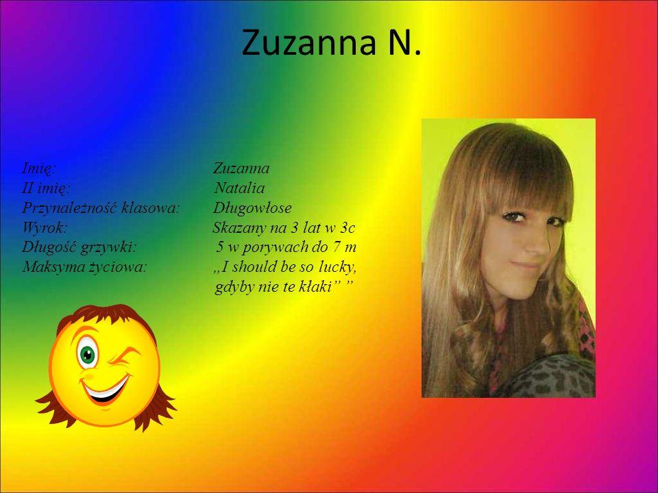 Zuzanna N. Imię: Zuzanna II imię: Natalia