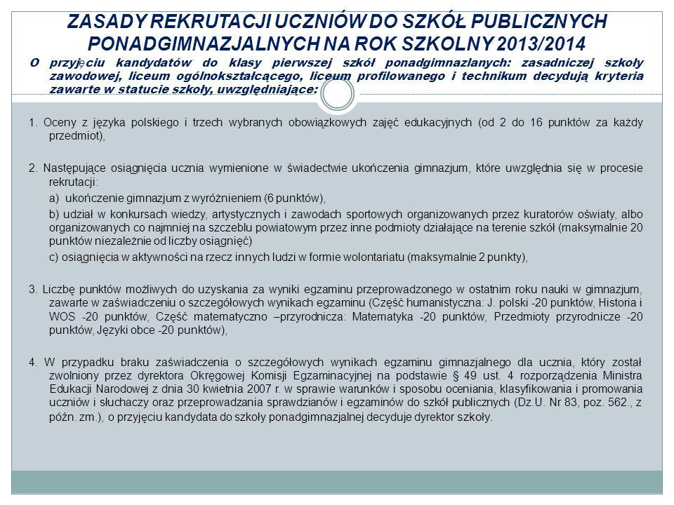 ZASADY REKRUTACJI UCZNIÓW DO SZKÓŁ PUBLICZNYCH PONADGIMNAZJALNYCH NA ROK SZKOLNY 2013/2014