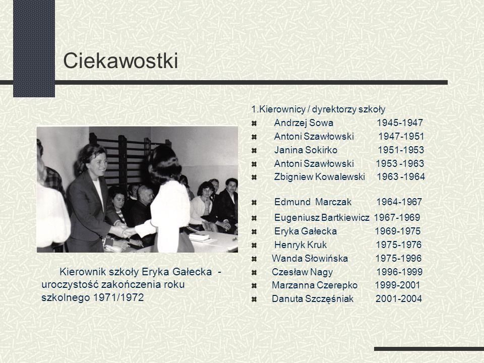 Ciekawostki 1.Kierownicy / dyrektorzy szkoły. Andrzej Sowa 1945-1947. Antoni Szawłowski 1947-1951.
