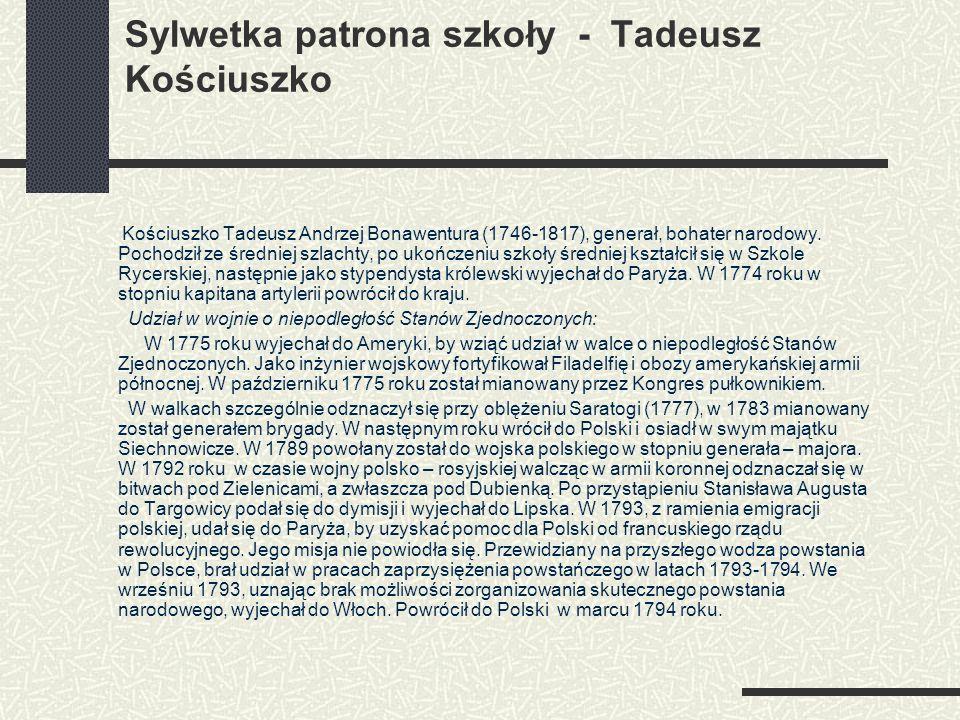 Sylwetka patrona szkoły - Tadeusz Kościuszko