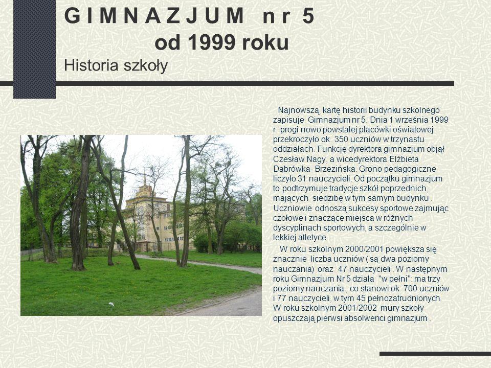 G I M N A Z J U M n r 5 od 1999 roku Historia szkoły
