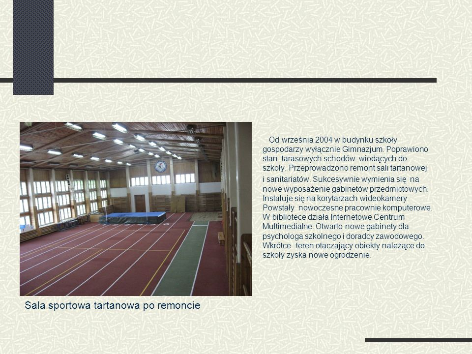 Sala sportowa tartanowa po remoncie