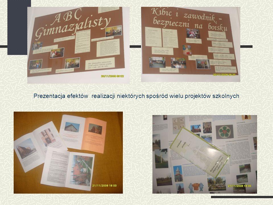 Prezentacja efektów realizacji niektórych spośród wielu projektów szkolnych