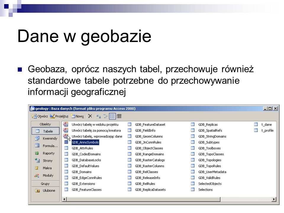 Dane w geobazie Geobaza, oprócz naszych tabel, przechowuje również standardowe tabele potrzebne do przechowywanie informacji geograficznej.