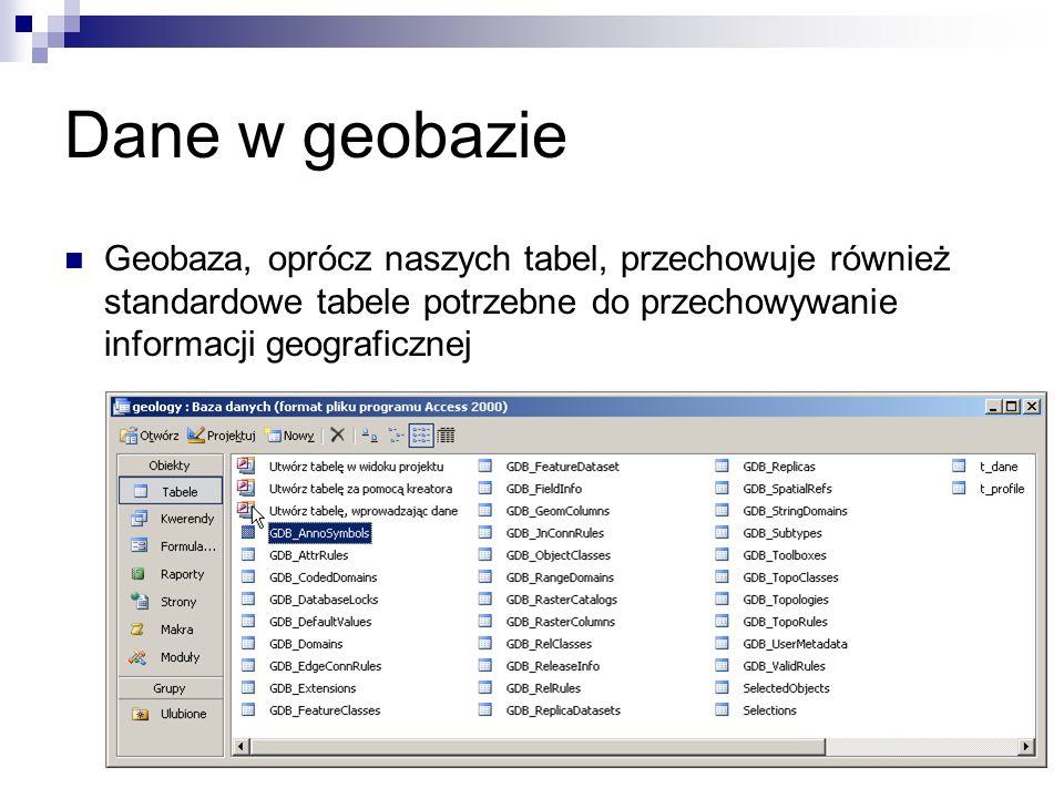 Dane w geobazieGeobaza, oprócz naszych tabel, przechowuje również standardowe tabele potrzebne do przechowywanie informacji geograficznej.