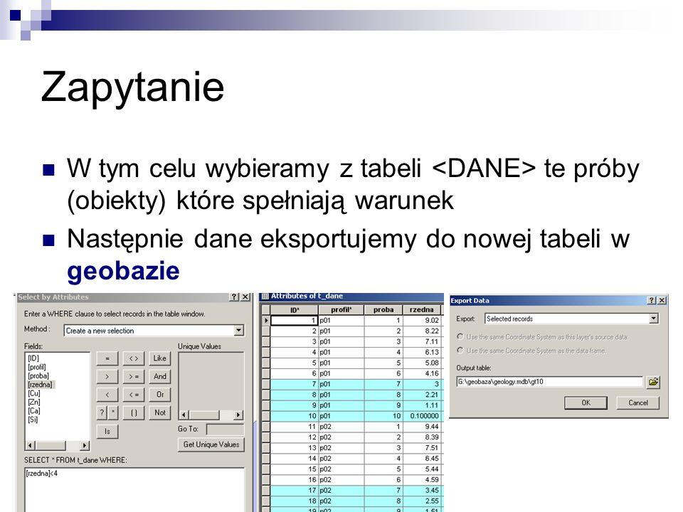 ZapytanieW tym celu wybieramy z tabeli <DANE> te próby (obiekty) które spełniają warunek.