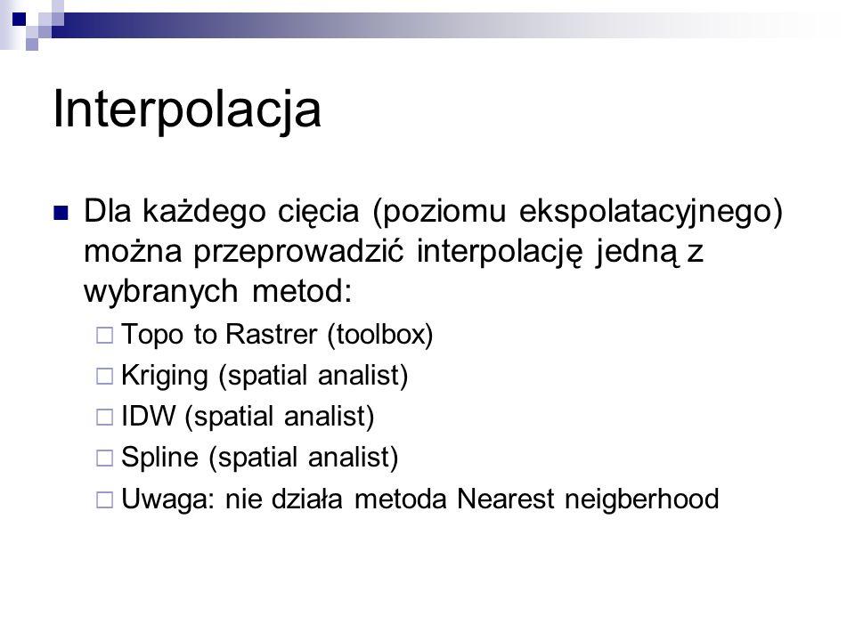 Interpolacja Dla każdego cięcia (poziomu ekspolatacyjnego) można przeprowadzić interpolację jedną z wybranych metod: