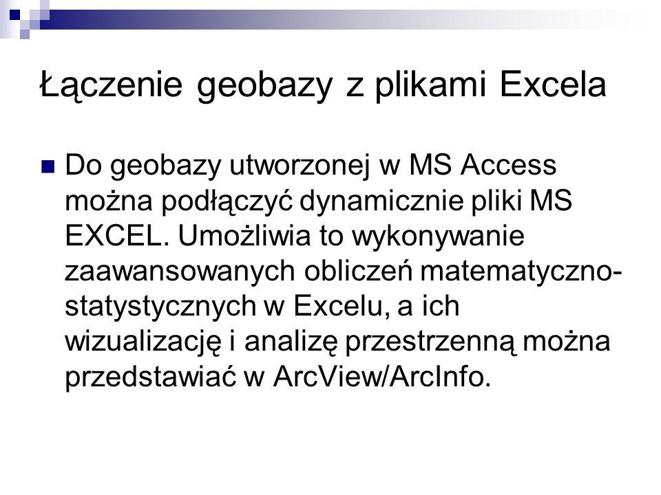 Łączenie geobazy z plikami Excela