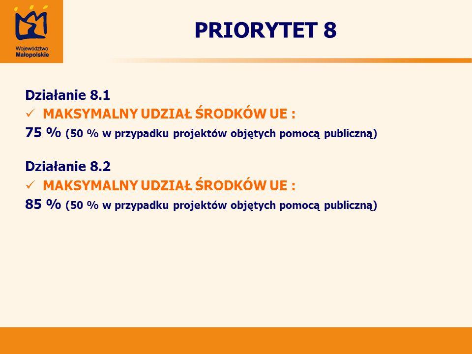 PRIORYTET 8 Działanie 8.1 MAKSYMALNY UDZIAŁ ŚRODKÓW UE :