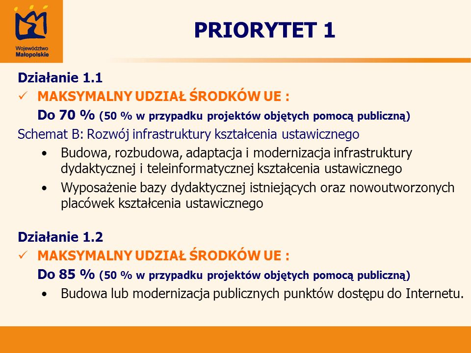 PRIORYTET 1 Działanie 1.1 MAKSYMALNY UDZIAŁ ŚRODKÓW UE :