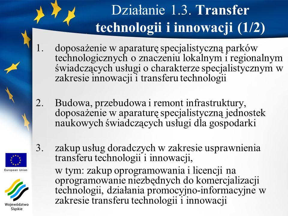 Działanie 1.3. Transfer technologii i innowacji (1/2)