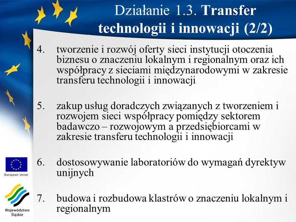 Działanie 1.3. Transfer technologii i innowacji (2/2)