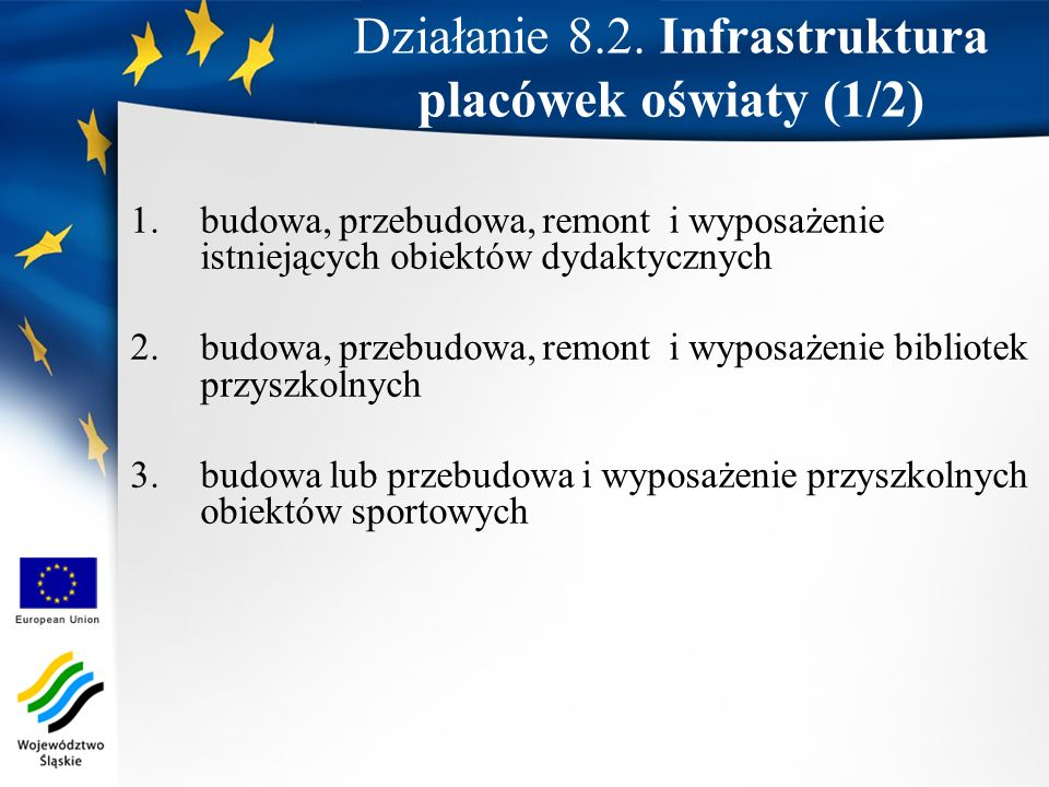 Działanie 8.2. Infrastruktura placówek oświaty (1/2)