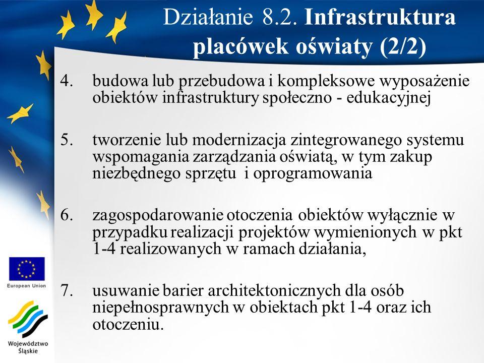 Działanie 8.2. Infrastruktura placówek oświaty (2/2)