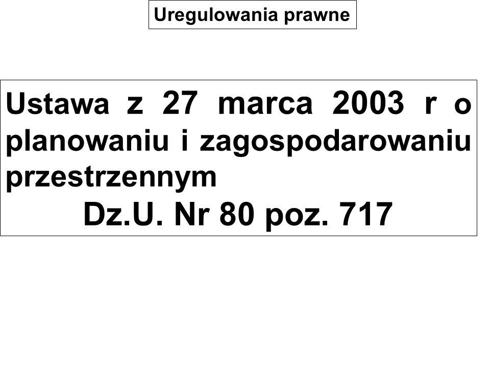 Uregulowania prawne Ustawa z 27 marca 2003 r o planowaniu i zagospodarowaniu przestrzennym. Dz.U. Nr 80 poz. 717.