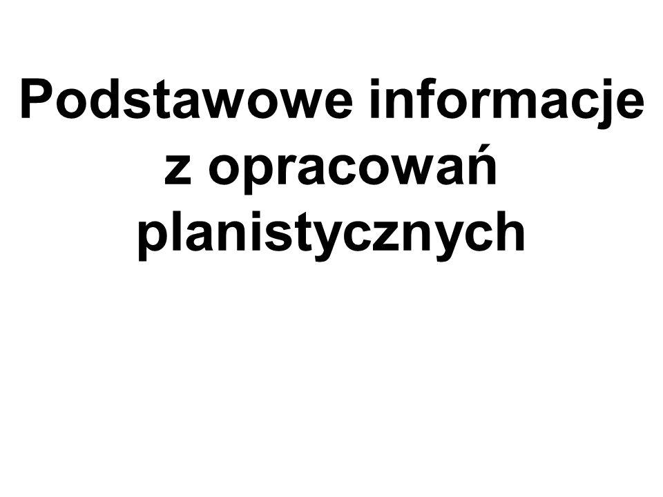 Podstawowe informacje z opracowań planistycznych