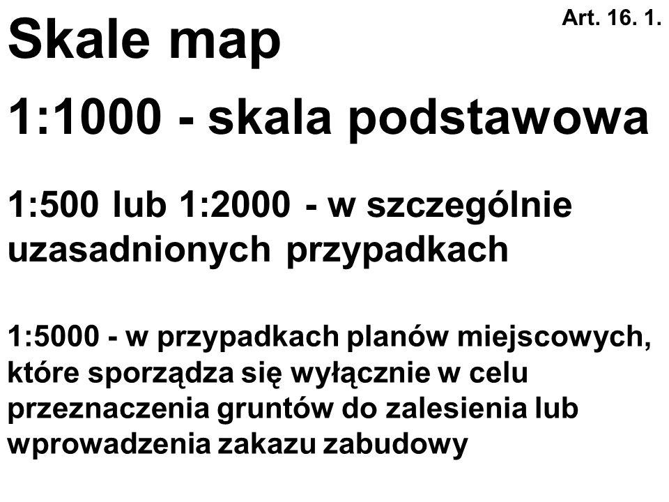 Skale map 1:1000 - skala podstawowa