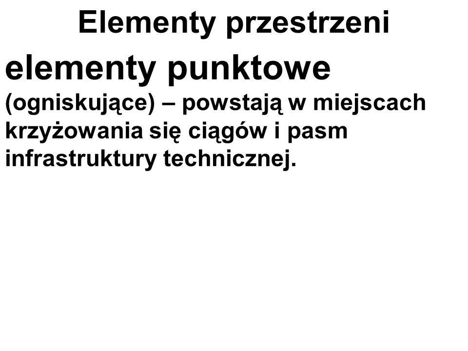 Elementy przestrzenielementy punktowe (ogniskujące) – powstają w miejscach krzyżowania się ciągów i pasm infrastruktury technicznej.