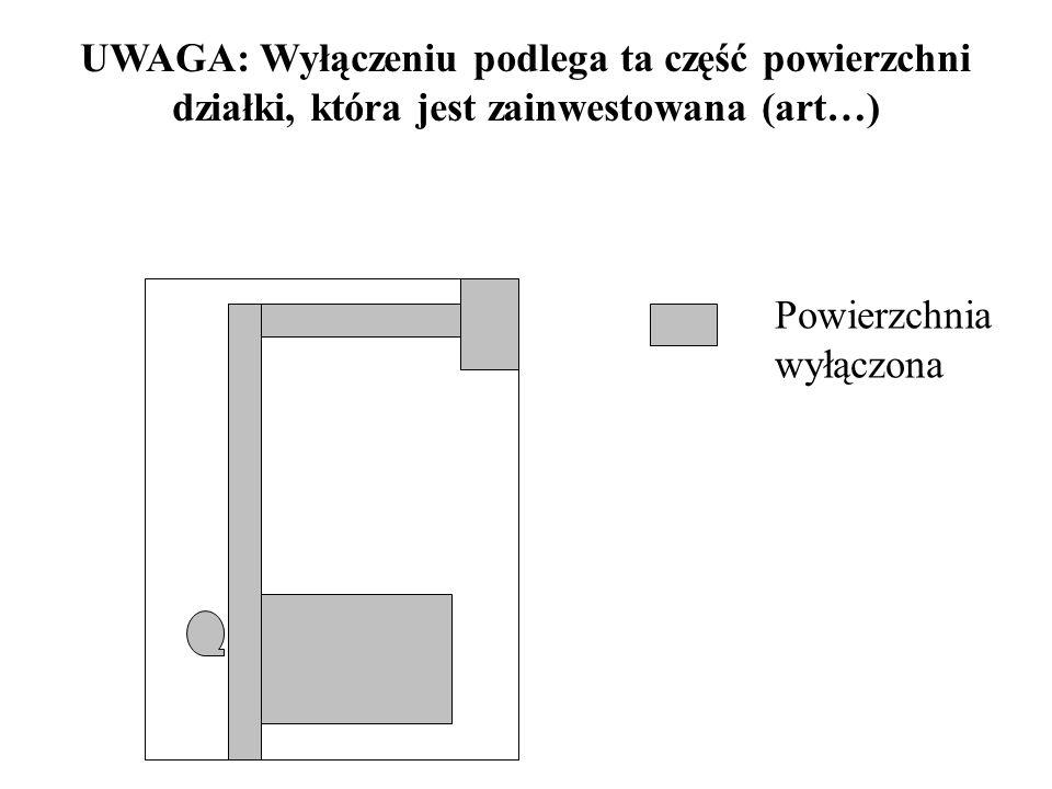 UWAGA: Wyłączeniu podlega ta część powierzchni działki, która jest zainwestowana (art…)