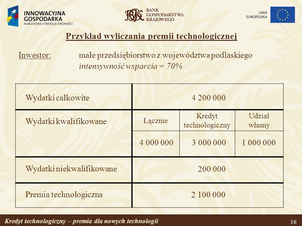 Przykład wyliczania premii technologicznej