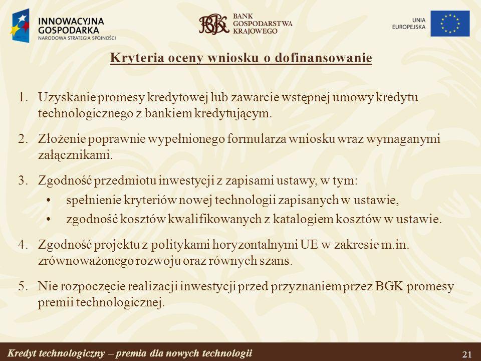 Kryteria oceny wniosku o dofinansowanie