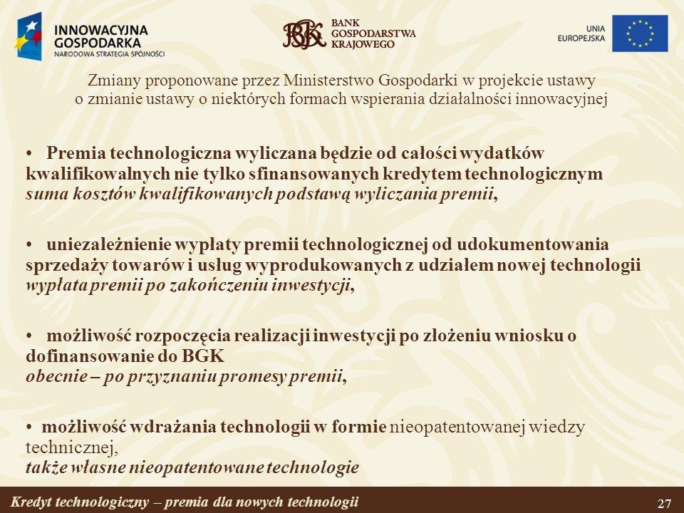 Zmiany proponowane przez Ministerstwo Gospodarki w projekcie ustawy o zmianie ustawy o niektórych formach wspierania działalności innowacyjnej