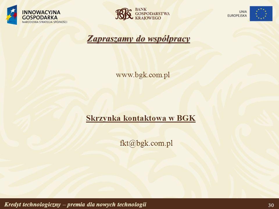 Zapraszamy do współpracy Skrzynka kontaktowa w BGK