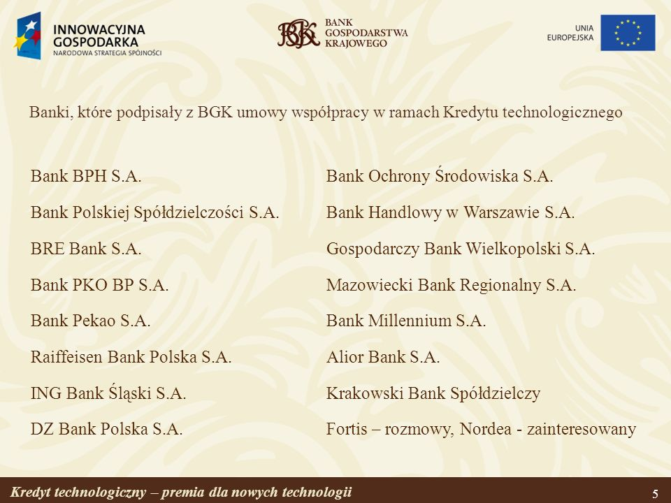 Bank Polskiej Spółdzielczości S.A. BRE Bank S.A. Bank PKO BP S.A.