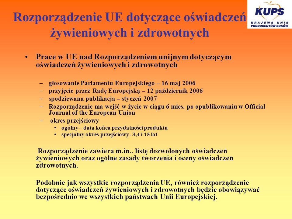 Rozporządzenie UE dotyczące oświadczeń żywieniowych i zdrowotnych