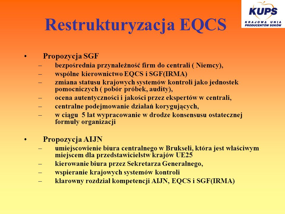 Restrukturyzacja EQCS