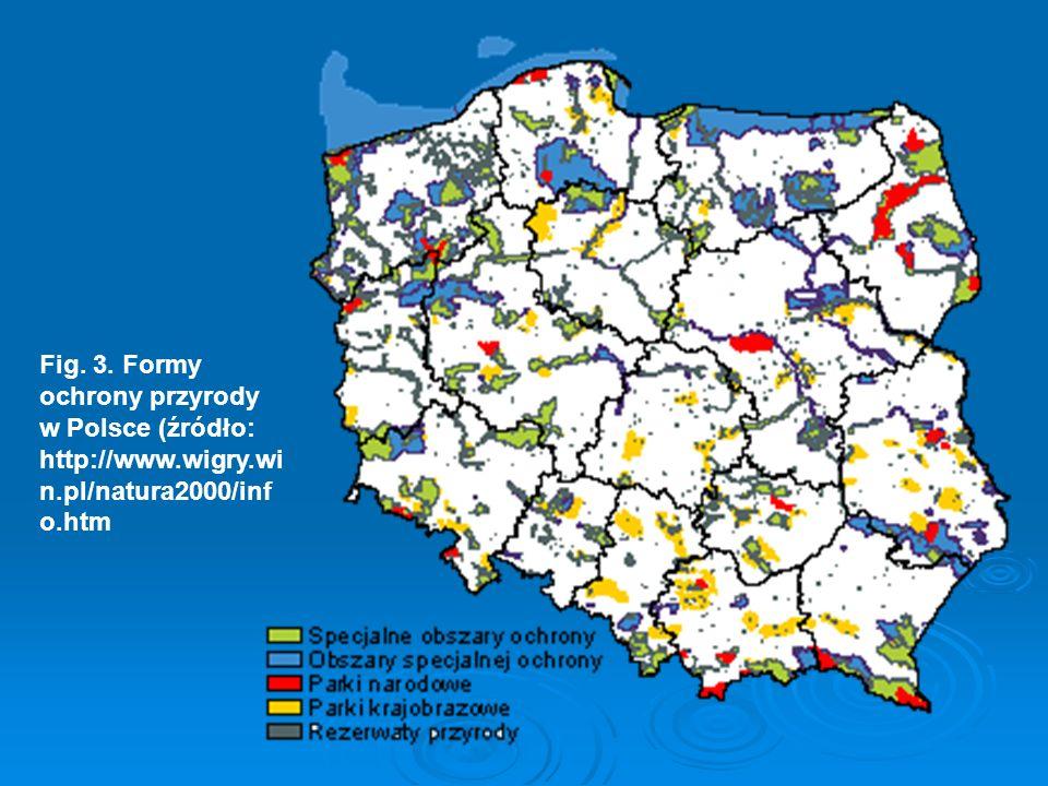 Fig. 3. Formy ochrony przyrody w Polsce (źródło: http://www.wigry.win.pl/natura2000/info.htm