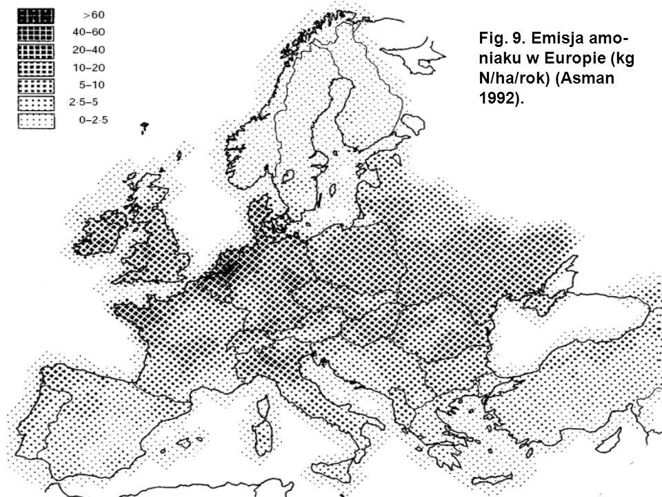 Fig. 9. Emisja amo-niaku w Europie (kg N/ha/rok) (Asman 1992).