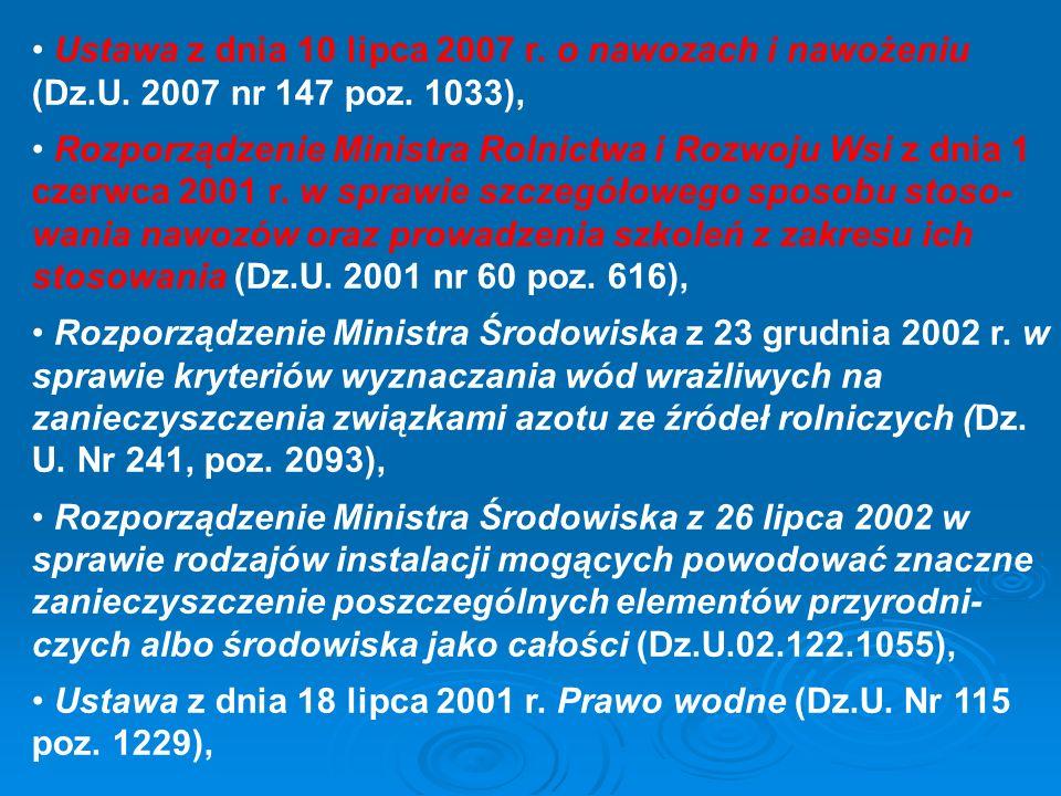 Ustawa z dnia 10 lipca 2007 r. o nawozach i nawożeniu (Dz. U
