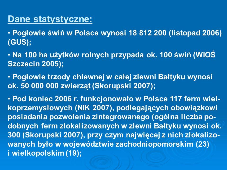 Dane statystyczne:Pogłowie świń w Polsce wynosi 18 812 200 (listopad 2006) (GUS);