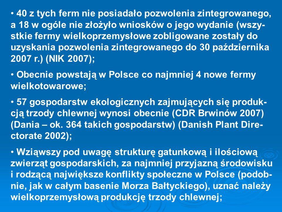 40 z tych ferm nie posiadało pozwolenia zintegrowanego, a 18 w ogóle nie złożyło wniosków o jego wydanie (wszy-stkie fermy wielkoprzemysłowe zobligowane zostały do uzyskania pozwolenia zintegrowanego do 30 października 2007 r.) (NIK 2007);