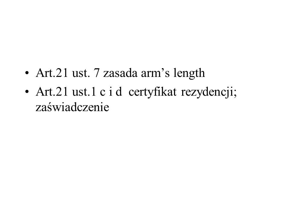 Art.21 ust. 7 zasada arm's length