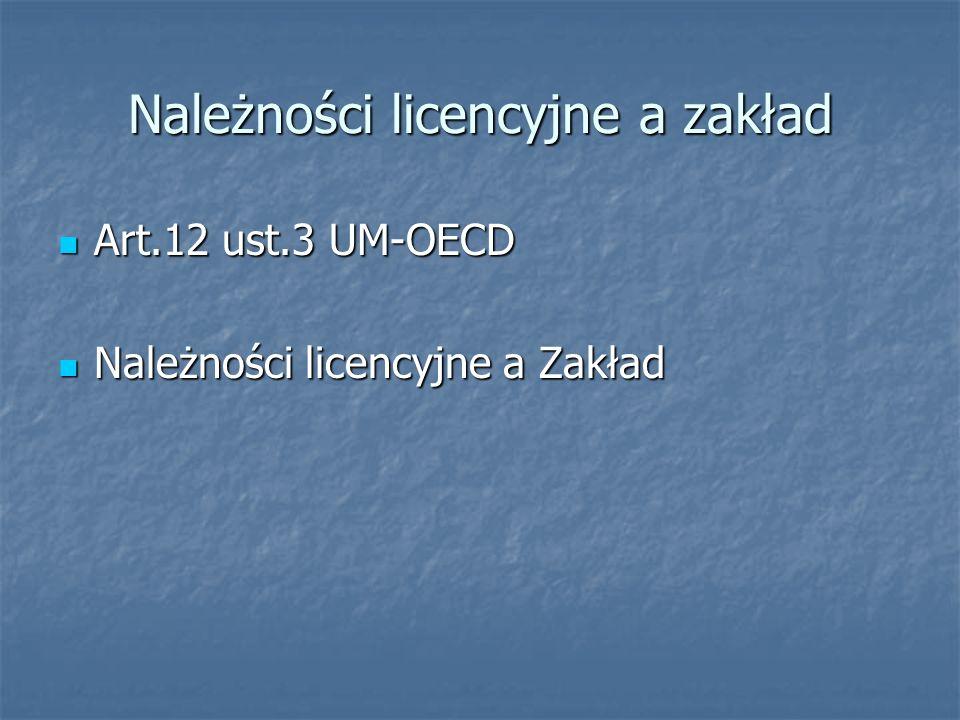 Należności licencyjne a zakład