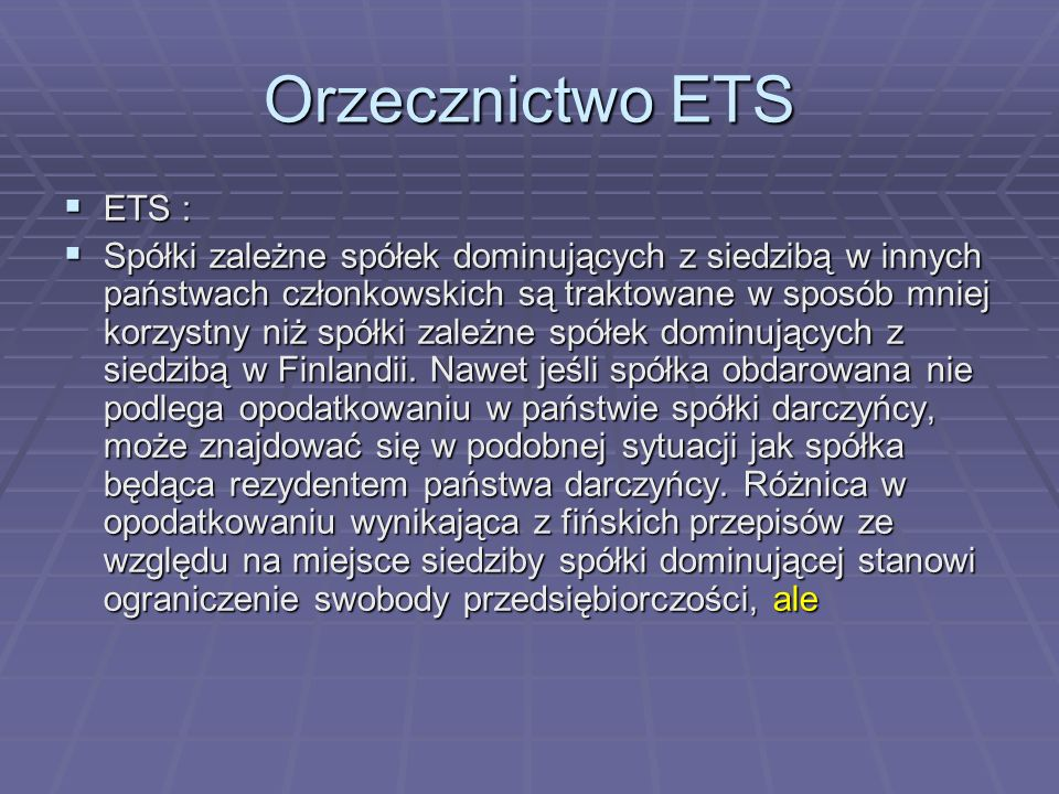 Orzecznictwo ETSETS :